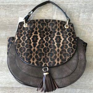 New! Boho Fashion Leopard Flap Tassel Satchel Bag